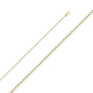 14K Yellow 1.5mm Flat Mariner Chain - 16""